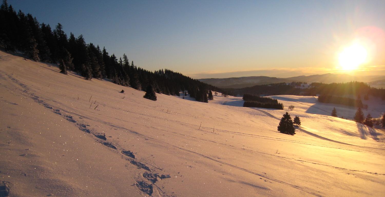 Coucher de soleil au Mont Racine, en hiver