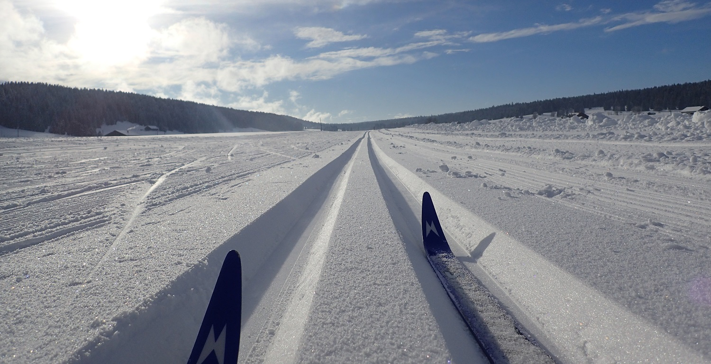 Ski de fond, skis dans les traces au Jordan, Val-de-Travers. Suisse